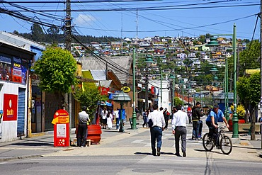 Street scene, mining town of Lota, Chile, South America