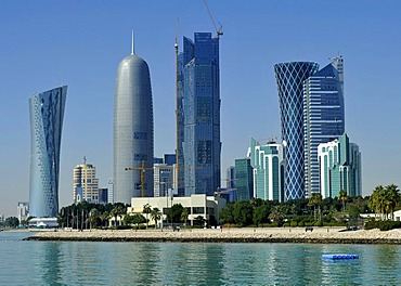 Skyline of Doha, Navigation Tower, Peace Towers, Al-Thani Tower, Tornado Tower, Emirate of Qatar, Middle East, Asia