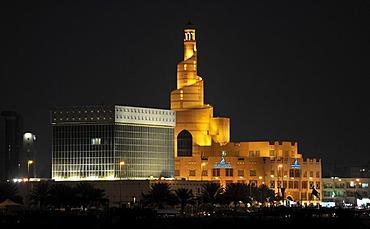 Night shot, spiral-shaped tower of the FANAR, Qatar Islamic Cultural Center, Doha, Qatar, Persian Gulf, Middle East, Asia