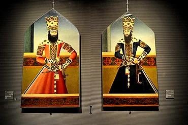 Exhibit, portrait of Sultan Hasan al-Sultani and Shaykh Ali Mizra, Museum of Islamic Art, Corniche, Doha, Qatar, Persian Gulf, Middle East, Asia