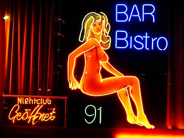 Erotic neon sign in the red light district, Frankfurt, Hesse, Germany, Europe