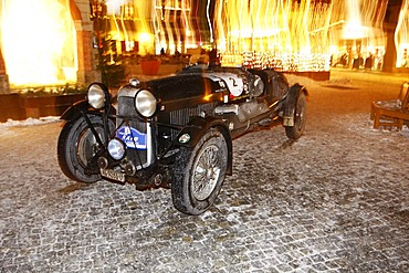 Lagonda M35 Rapide Le Mans, built in 1934, Winter Raid 2010 classic car rally, Switzerland, arriving in front of the casino in the pedestrian zone of Garmisch-Partenkirchen, Bavaria, Germany, Europe