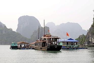 Tourist boat moored off a floating fish farm, Halong Bay, Vinh Ha Long, North Vietnam, Vietnam, Southeast Asia, Asia