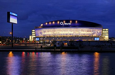 O2 World stadium, with Spree river and East Side Gallery, O2 World, O2-Arena stadium, Anschutz Entertainment Group company, Friedrichshain district, Berlin, Germany, Europe
