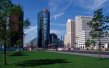 View from Leipziger Platz square on Potsdamer Platz square with Deutsche Bahn Tower and Sony Center, Mitte district, Germany, Europe