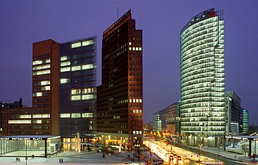 Skyscrapers on Potsdamer Platz square in winter, the Chrysler Building, the Sony Center, Deutsche Bahn Tower and Beisheim Center with Ritz Carlton Hotel, Tiergarten district, Berlin, Germany, Europe