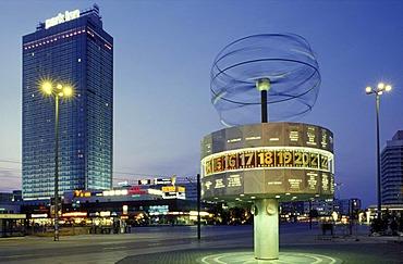 Alexanderplatz square at dusk, world clock, Park Inn Hotel, Mitte district, Germany, Europe
