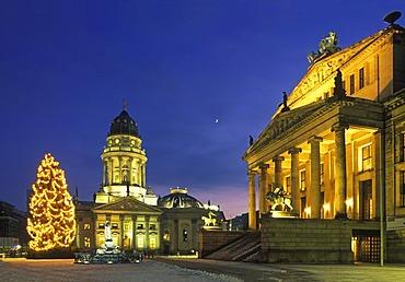 Gendarmenmarkt square with Christmas tree and moon, Schauspielhaus theater, Deutscher Dom cathedral, Mitte district, Germany, Europe
