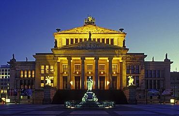 Schauspielhaus theater by Karl Friedrich Schinkel, today a concert hall, with Schiller monument on Gendarmenmarkt square, Mitte district, Germany, Europe