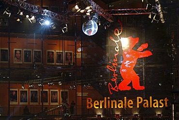 Berlinale Bear, logo and symbol of the Berlinale or Berlin Film Festival, Sony Center on Potsdamer Platz square, Tiergarten district, Berlin, Germany, Europe