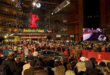 Red carpet at the Berlinale or Berlin Film Festival, Berlinale Palast musical theater on Potsdamer Platz square, Tiergarten, Berlin, Germany, Europe