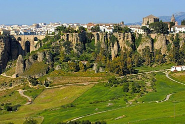 Puente Nuevo, new bridge, spanning the Tajo Gorge, Ronda, Malaga province, Andalusia, Spain, Europe