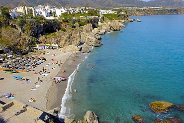 Playa Calahonda, view from Balcon de Europa, Balcony of Europe, Nerja, Costa del Sol, Malaga province, Andalusia, Spain, Europe
