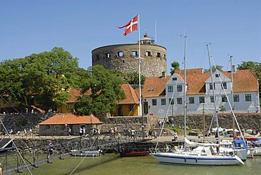 Harbour with sailboats at the old Christiansoe Fortress, Denmark, Europe