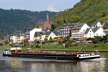 Cargo boat on the Moselle river near Cond, Cochem, Rhineland-Palatinate, Germany, Europe