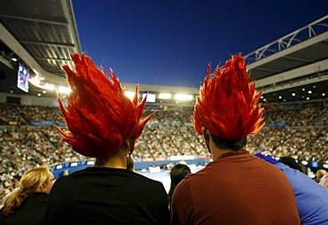 Two Roger Federer fans with dyed hair, view from above towards the Centre Court, night scene, Australian Open 2010, Grand Slam Tournament, Melbourne Park, Melbourne, Australia