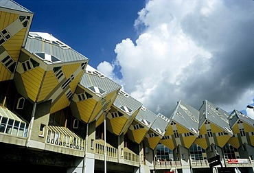 Futuristic cube houses, architect Piet Bloom, Rotterdam, South Holland, Netherlands, Europe