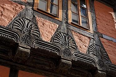 Beautifully carved beams, historic half-timbered house, Quedlinburg, Harz, Saxony-Anhalt, Germany, Europe