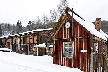 Building of the former Maegdesprung ironworks, snow, Harzgerode, Harz, Saxony-Anhalt, Germany, Europe