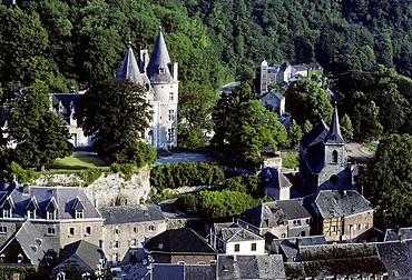 Castle and historic centre, Durbuy, Wallonia, Luxembourg Province, Belgium, Europe