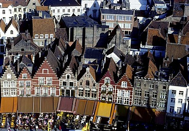 Houses on the Grote Markt, View from the belfry, Bruges, West Flanders, Belgium, Europe