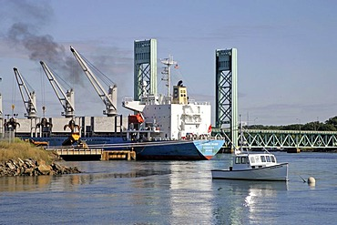Scrap ship at Portsmouth dock, New Hampshire, New England, USA
