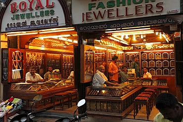 Jeweler's shops, Chalai Bazaar Road, Trivandrum, Thiruvananthapuram, Kerala state, India, Asia