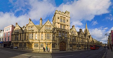 Panorama of Brasenose College building, High Street, Oxford, Oxfordshire, England, United Kingdom, Europe