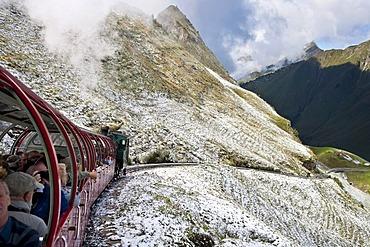 Ride on the Brienz-Rothorn-Bahn rack railway on Mt. Brienzer Rothorn, Bernese Oberland, Switzerland, Europe
