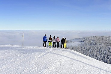 A group of skiers on the slopes of Mt. Seebuck in the Black Forest, Landkreis Breisgau-Hochschwarzwald district, Baden-Wuerttemberg, Germany, Europe