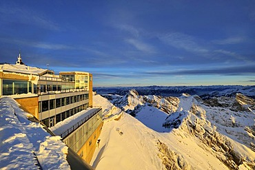 View of the panorama restaurant and viewing terrace on the summit of Mt Saentis, short before sunset, Canton of Appenzell Innerrhoden, Switzerland, Europe