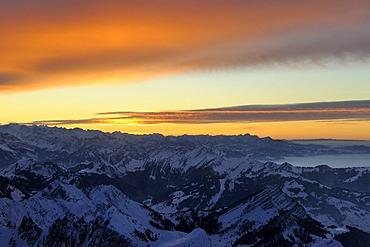 Mood of the light after sunset, above the Alpstein area, Switzerland, Europe