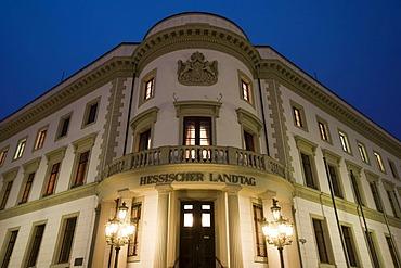 Hessian Parliament at night, Wiesbaden, Hesse, Germany, Europe