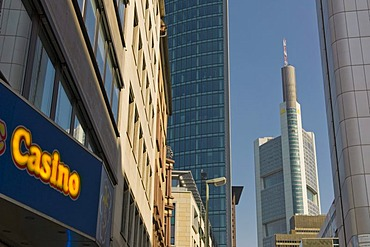 Symbolic image for speculation by banks, economic crisis, Casino, Frankfurt, Hesse, Germany, Europe