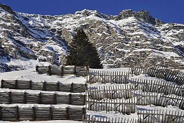 Avalanche protection on Maloja Pass, Bregaglia, Grisons, Switzerland, Europe