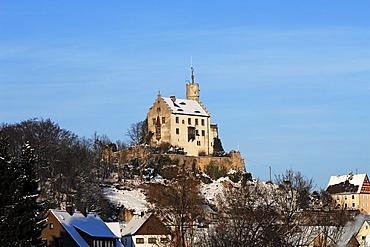 Burg Goessweinstein castle in winter, 1076, remodelled in the Neo-Gothic style around 1890, Goessweinstein, Upper Franconia, Bavaria, Germany, Europe