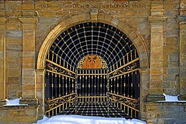 Gate of the Dreifaltigkeitskapelle Trinity Chapel, 1725, Basilica Goessweinstein, Balthasar-Neumann-Strasse 7, Goessweinstein, Upper Franconia, Bavaria, Germany, Europe