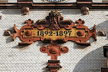 """Turret clock with decorative mosaic, year """"1892-1897"""", main post office, built from 1892 to 1897 in neo-Renaissance style, Mecklenburgstrasse, Schwerin, Mecklenburg-Western Pomerania, Germany, Europe"""