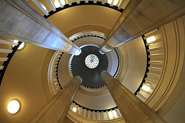 Staircase with dome as seen the bottom, Schweriner Schloss castle, built from 1845 to 1857, romantic historicism, Lennestrasse 1, Schwerin, Mecklenburg-Western Pomerania, Germany, Europe