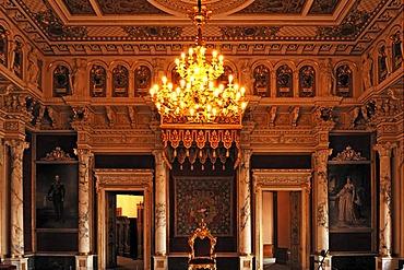 Throne room, built in 1856 in the Berlin neo-Renaissance style, Schweriner Schloss castle, built from 1845 to 1857, romantic historicism, Lennestrasse 1, Schwerin, Mecklenburg-Western Pomerania, Germany, Europe