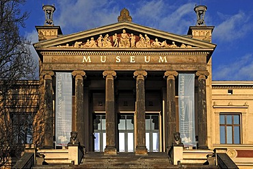 Staatliches Museum Schwerin, State Museum against blue sky with clouds, inaugurated in 1882, neo-classical style, Alter Garten, Schwerin, Mecklenburg-Western Pomerania, Germany, Europe