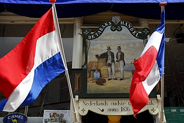 National flags at a tobacconist's, De Tabaks Handel, Gouda, Zuid-Holland, South Holland, The Netherlands, Europe