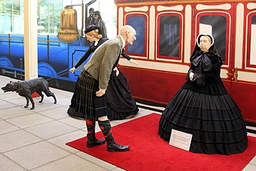 Ballater station, information center about the British royal family, museum, scene of Queen Victoria arriving in Ballater, Ballater, Scotland, United Kingdom, Europe
