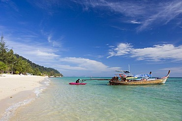 Longtail boat, fishing boat on the beach, Ko Hai or Koh Ngai island, Trang, Thailand, Asia