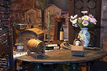 Wine cellar in the Brunello winery, Fattoria dei Barbi, Podernovi, Montalcino, Tuscany, Italy, Europe