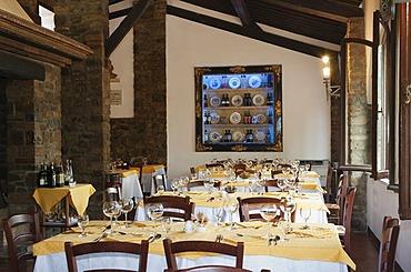 Restaurant Taverna dei Barbi in the Brunello winery, Fattoria dei Barbi, Podernovi, Montalcino, Tuscany, Italy, Europe