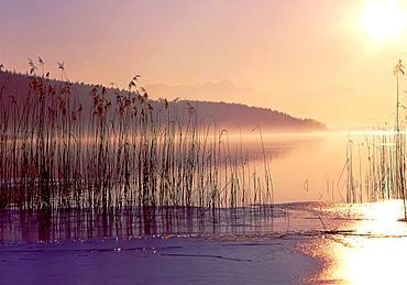 Sunset on Simsee Lake, Upper Bavaria, Germany, Europe