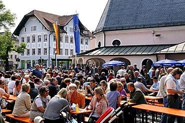 German people celebrating Labour Day, Prien, Chiemgau, Upper Bavaria, Germany, Europe