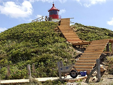Wooden steps under construction leading to a lighthouse on Amrum Island, Schleswig-Holstein, Germany, Europe