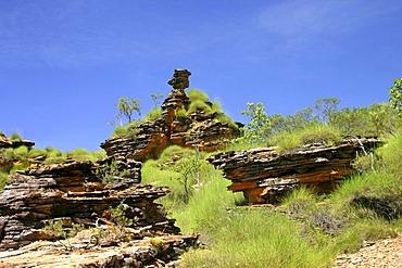 Rock formations, spinifex grass, Hidden Valley, Mirima National Park, Kununurra, Kimberley, Northwest Australia